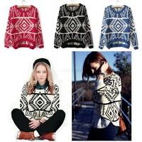 Women Geometry Design Long Sleeve Loose Plaid Print Sweater Pullovers Knitwear Big Size 17824