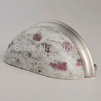 "Novelty Furniture Hardware,3"" White Galaxy Granite Pull,3pcs Stone Drawer Pulls,Kitchen Cabinet & Cupboard Handles,Free Shipping"