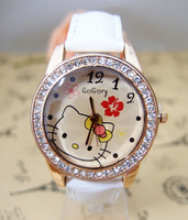 Hot sale High Quality lovely Hello Kitty watch children women Crystal dress quartz wrist watch for gift go056