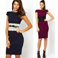 2014 New Summer Dress Women Elegant Knee Length Bodycon Pencil Dress with Belt Elegant Office Dress Women Work Wear  9020