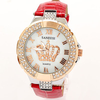 Reloj Watches Woman 2013 New Brands Rhinestone Bracelet Dress Quartz  Watch Crown Famous Free Shipping