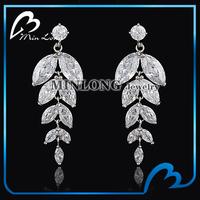 New fashion Austrian crystal cubic zirconia earring for bridal wedding drop earring silver plated Valentine Brincos Bijoux Gift