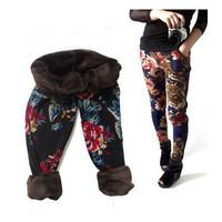2014 autumn winter leggings tattoo no pilling fashion velvet leggings Warm pants waist pocket retro print rose pants capirs