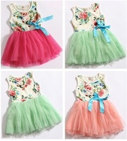 Baby dresses for girls infant cotton clothing sleeveless tutu dress with ribbons beautiful summer clothes flower printed + Lace