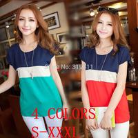 2014 o-neck plus size color block shirt decoration loose chiffon blouse short-sleeve women fashion summer  tops for women WC0267