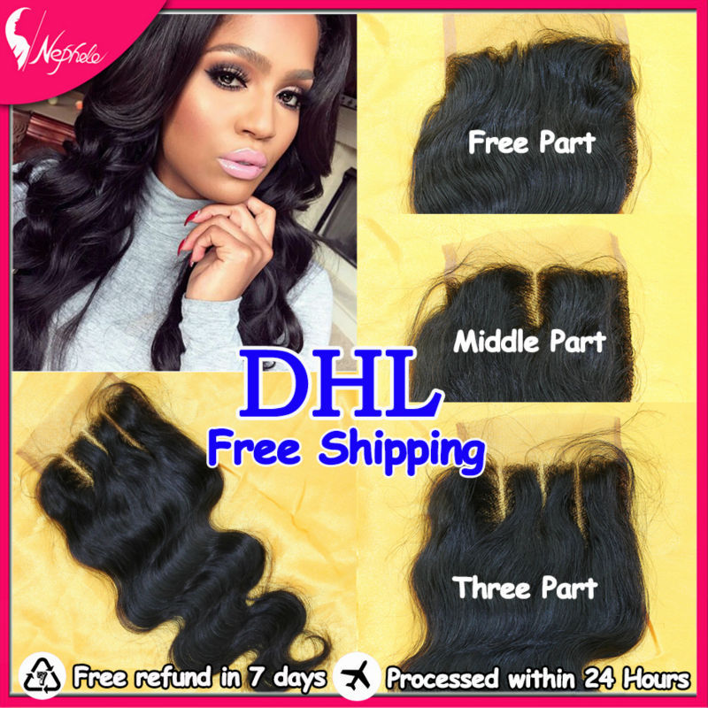 100% Brazilian Virgin Hair Body Wave Queen Hair Product Brazilian Ombre Human Hair Weave Lace Closure Sale,3 part, middle part(China (Mainland))
