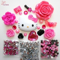 Hello Kitty DIY Phone Case Kit Flat Back Resin Cabochon Set Sweet Candy Hot Pink Rose Pink for Phone Case DIY Deco Free Shipping