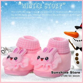 Sunshine store #2B2046  5 pair/lot(2 colors) Baby winter shoes rabbit Crib Prewalker  animal fleece thickening winter boots CPAM