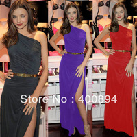 WHOLESALE  2013 newest  Womens Draped High Slit Ruched Stretch Maxi Party  Long Dress