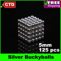 125pcs 5mm Buckyballs Neocube Magic Cube Magnetic Balls, Silver
