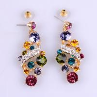 Fashion Luxury Rose Gold Plated Girls Bohemian Drop Earrings,Multicolor Rhinestone Innovative Bijoux Christmas Gift,12pcs/lot