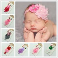 Baby Headband Infant girls Flower Headbands Shabby chiffon flower Newborn toddler shabby chic roses headband acrylic flowers