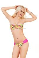 2014 Hot!! Padded Floral Bikini Set Underwire Bandage Swimwear Vintage Swimwuit Bathing Suits Free Shipping Dropshipping 1312B