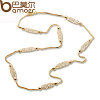 Bamoer Luxury Champagne Gold Plated Chain Necklace Zircon Crystal Necklace Women Fashion Jewelry Birthday Present JSN047