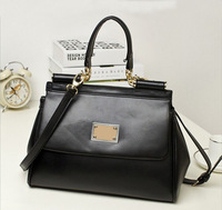 Classic Black 2014 High Quality Fashion Celebrity Designer Brand Handbags Genuine Leather Flap bag Purse Shoulder Messenger Bag