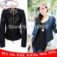 Plus Size Legend!  New 2014 Spring Winter Women PU Jacket Outerwear Faux Leather Blazer XL To 5XL 6XL Suedes The Coat  P656