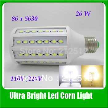 Free Shipping High Quality 5630 Led Lamp 26W 2400lm 86 Leds 360 degree E27/E14/B22/E26 Corn Bulb Light 110v / 220V Led Bulb