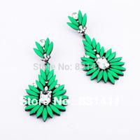 Green Resin Black Shourouk Earrings New In 2014 Free Shipping