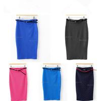8xFashion Womens Ladies High Waist Midi Bodycon Slim Pencil Tube Stretch Skirt 7 Colors Drop Shipping