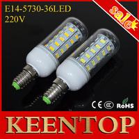 High Lumen E14 Smd5730  36Led Solar Led Pendant Lights 220V 12W Corn Ceiling Bulbs Downlight Lamps Chandelier Spotlight 6Pcs