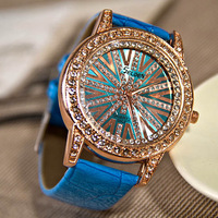 Free shipping New Gift Women Rhinestone Diamond Ladies Quartz Wrist Leather Strap Fashion Dress Watch