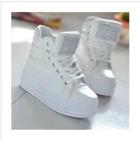 Free shipping new 2013 Platform shoes round toe high top lacing casual shoes sneakers elevator shoes women's four seasons