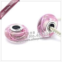 2pcs S925 Pink Lines Murano Glass Beads Europe Charm Beads Fits dora Charm Bracelets necklaces & pendants ZS175B