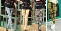 Lady Colorful Geometry Pattern Print Full length Elastic Skinny Leggings Pants   4 Colors