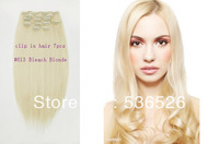 Beauty Products  Synthetic Hair Extensions Clip in hair #613 Bleach Blonde10pcs lot All Express 170g/5.99oz