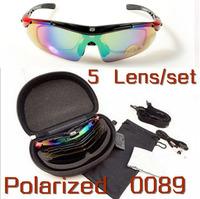 Free Shipping Brand Outdoor Sports Cycling Bike Bicycle Riding Fishing Sunglasses Sun Glasses Goggle Eyewear -5 Lens 1 Polarized