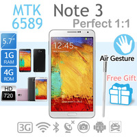 "Perfect 1:1 N9000 Note 3 phone 5.7"" Android 4.3 MTK6589T Quad core 1GB Ram 4GB ROM 1280*720 1.3MP/ Rear 8MP  3G phone"