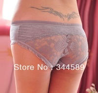 4360 Free shipping bow lace sexy patchwork Transparent panties cotton briefs underpants for women