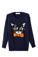 Women casual cotton blend cat head pattern navy color knit ladies o-neck pullover sweater 358805