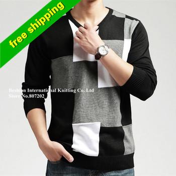 Новый 2014 Мода Шерсть зима теплая V-образным вырезом с длинным рукавом Повседневные Пуловеры Вязаный свитер мужчина открытом воздухе негабаритных свитера мужские