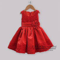 New Year Party Dresses For Girls Red Satin Dresses With Lace Rose And Flower Waist Band Baby Girl Princess Dresses GD30928-4