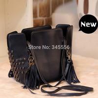 2014 New Women Messenger Bags Ladies Tassel Rivet Bag Vintage Punk Skull Bag Women Leather Handbags Brand Crossbody Bags WB2045