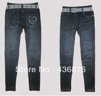 Simple Fresh Style Imitation Jeans Grey Belt Print Leggings For Women Skinny Fit Pants Jegging Slimming Ankle Length