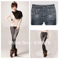 Simple Fresh Style Imitation Jeans Solid Tie Dye Print Leggings For Women Skeleton Pants Jegging Slimming Ankle Length