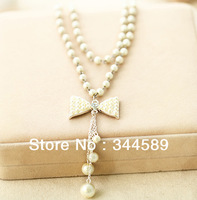 1495 free shipping Delicate Pearl crystal pendant Necklace Bowknot Sweater Chain Korea Style Jewelry