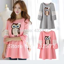 Libre de primavera 2014 del envío más el tamaño de la maternidad vestido de algodón a cuadros vestido de una sola pieza color de rosa / gris mujeres jersey talla SML XL(China (Mainland))