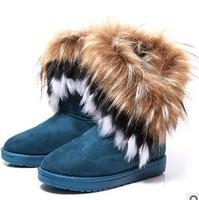 Women  fox fur snow boots faux medium-leg boots cotton-padded shoes warm shoes women's shoes