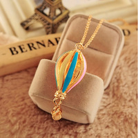 P 2244 free shipping fashionable Hot Air Balloon bow sweater necklace pendant Necklace for women