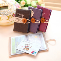 3969 Min order $10 (mix order) free shipping Korea fashion fresh lace simple canvas card holders button card bag for girls