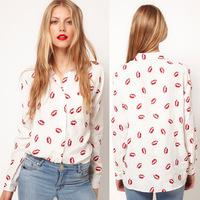 Red lip flowers printed Women's female long-sleeved chiffon shirt