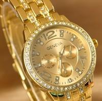 women rhinestone watches,woman dress watches  women's fashion golden wristwatch ,lady geneva  gold reloj whole & retail 0076