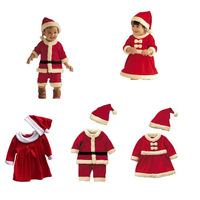 2-4T 80-100cm Christmas Kids Boys Girls Fancy Cute Costume Boy Sets Girl Baby Red Dresses For Xmas Party Bowknot Hat Dress J1298