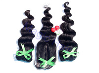 quality Natural color peruvian virgin Hair weft loose Wave 2pcs with 1 pcs lace closure Factory direct sale!