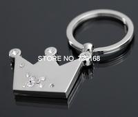 Free shipping coroa produto crown keyring hotsale yiwu jewelry wholesale silver plated fashion zinc alloy rhinestone key chain