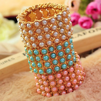 JM 0952 Min order $10 (mix order) free shipping 2013 new four layer pearls full crystal Bohemia bangles bracelets for women
