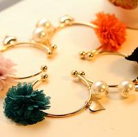 0726 free shipping fashion fresh bangles exquisite simulated-pearl chiffon flower heart bracelets